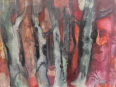 """Aquarell - Willi Ulfig (1910 Breslau - 1983 Regensburg) """"Der rote Wald"""", r.u. signiert und datiert"""