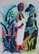 """Aquarell - Richard Ziegler (1891 Pforzheim - 1992) """"Nordafrikanische Frau vor Landschaft"""", r.u."""