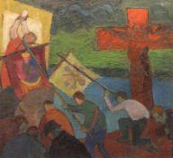 "Gemälde - Knut Schnurer (Kösching 1920-2007 Ingolstadt) ""Prozession"", r.o. monogrammiert, datiert"