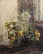 """Gemälde - Lina Röhrer (Ingolstadt 1866 - 1920) """"Blumenstillleben"""", unsigniert, Öl auf Leinwand /"""