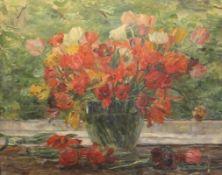 """Gemälde - Lina Röhrer (Ingolstadt 1866 - 1920) """"Blumenstillleben mit Tulpen"""", unsigniert, Öl auf"""