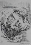 """Radierung - Ludwig Meidner (1884 Bernstadt - 1966 Darmstadt) """"Tanja schlafend"""", r.u."""
