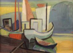 """Aquarell - Knut Schnurer (Kösching 1920-2007 Ingolstadt) """"Küstenlandschaft mit Booten"""", l.u."""