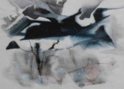 """Aquarell - Willi Ulfig (1910 Breslau - 1983 Regensburg) """"Vor dem Schneesturm"""", lasierende Farben auf"""