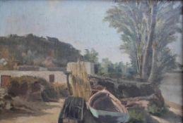 """Gemälde - Anonym (19./20.Jahrhundert) """"Küstenlandschaft mit Kahn"""", unsigniert, Öl auf Leinwand/"""