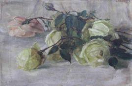 "Gemälde - Lina Röhrer (Ingolstadt 1866 - 1920) ""Stillleben mit Rosen"", r.o. signiert, Öl auf Holz,"
