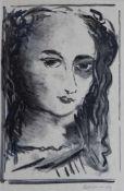 """Lithographie - Maurice de Vlaminck (1876 Paris - 1958 Ruell-la-Gadelière) """"Portrait de Femme"""", r."""