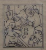 """Zeichnung - Carry Hauser attr. (1895 Wien - 1985 Rekawinkel) """"Fressszene"""", r.u. monogrammiert, roter"""