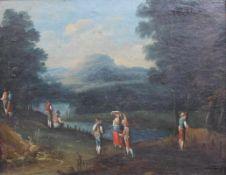 """Gemälde - wohl süddeutsch 18.Jahrhundert """"Ideallandschaft mit Personenstaffage im Vordergrund"""","""