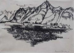 """Zeichnung - Helmuth HEINSOHN (Lübeck 1907-1985 Hamburg) """"Landschaft"""", Kohle auf Papier, r.u."""