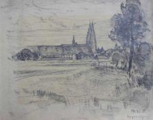 """Zeichung - Monogrammist MR (19./20.Jahrhundert) """"Stadtansicht Regensburg"""", r.u. monogrammiert,"""
