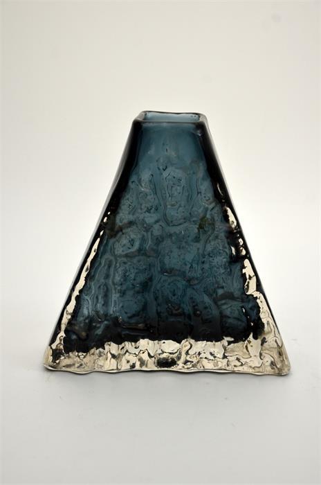 Geoffrey Baxter for Whitefriars, an Indigo glass Pyramid vase - Image 3 of 5
