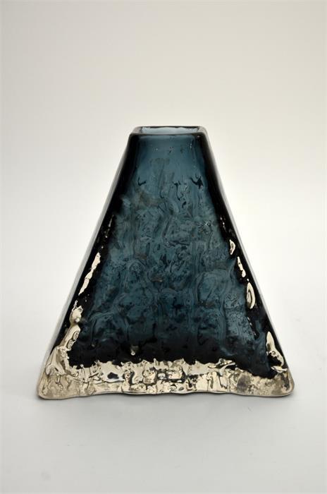 Geoffrey Baxter for Whitefriars, an Indigo glass Pyramid vase