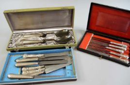 Sammlung, Antikes Besteck Silber 800 und Silber plated. Sammlung bestehend aus 2x Vorlegebesteck und