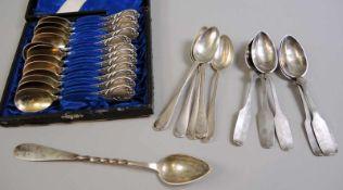 Sammlung, Kaffee- und Teelöffel Silber 800, 13-Lot sowie Silber plated. Einzeln am Stiel mit