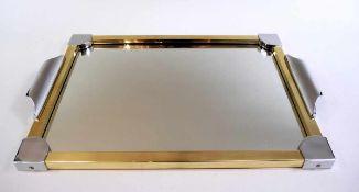 Spiegeltablett Messing, Silber plated, vergoldet, mit zwei Griffen. Sehr guter Zustand. Deutschland,
