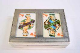 Seltenes Kartenspiel Sterling Silber Etui, inwendig Holz. Firma Wempe. H x B x T ca. 10 x 7 x 3