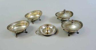 Gewürzset mit Kerzenleuchter Silber 800, einzeln mit Feingehaltsstempel punziert, 5-Spitzen-Stern