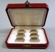 Cartier, 6 Tischkartenhalter Sterling Silber, einzeln mit Feingehaltsstempel, Merkur und