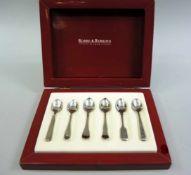 Robbe & Berking, 6 Mokkalöffel Sterling Silber, Halbmond und Krone und Herstellermarke Robbe &