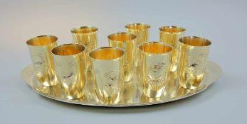 Jagd-Trinkbecherset auf Tablett Vergoldetes Sterling Silber 925, 10-teilig, jeweils am Boden mit