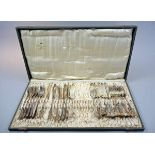 Jugendstil-Fischbesteck für 12 Personen Silber plated, einzeln am Griff mit Straußenmarke, WMF und