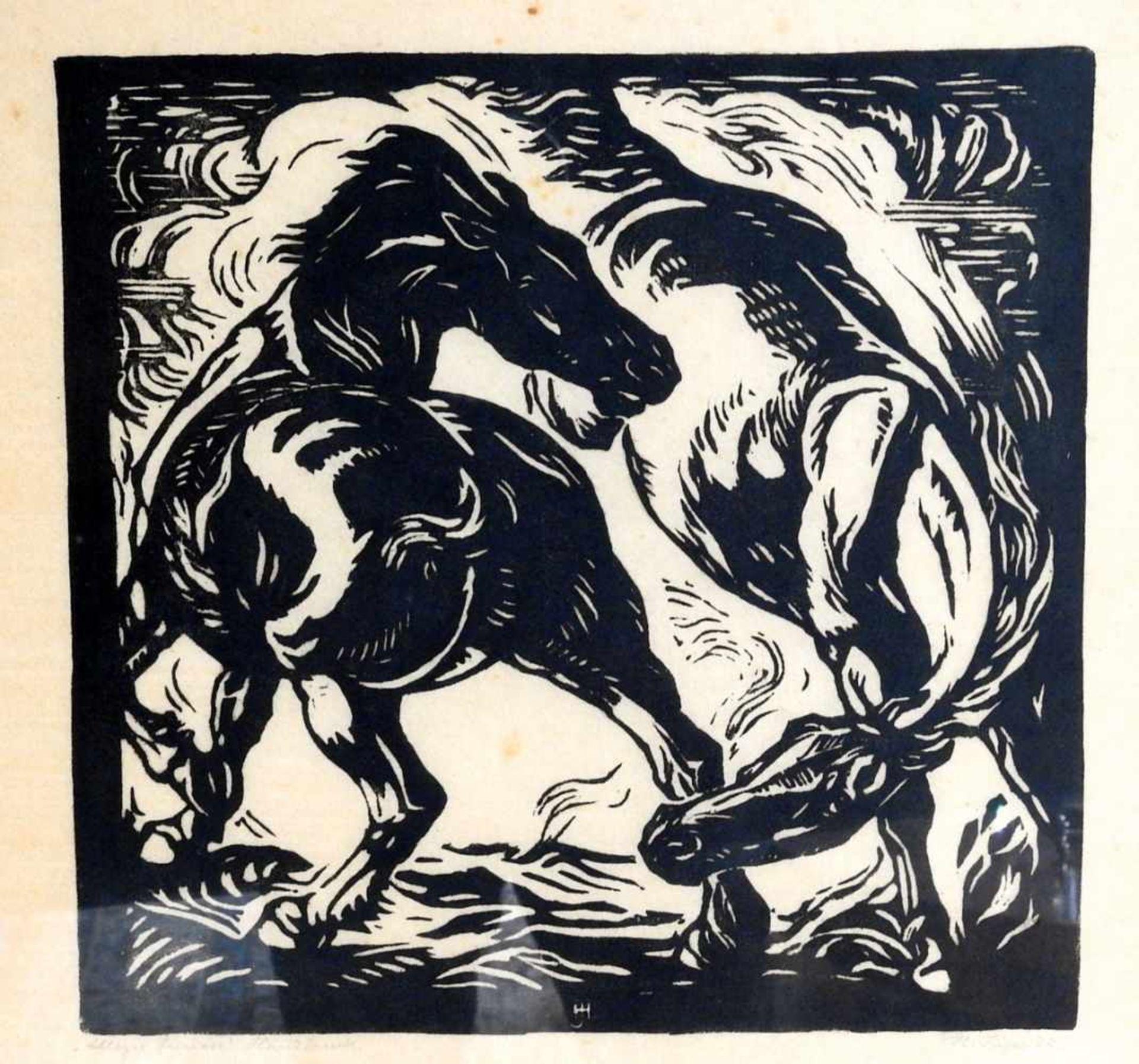Hans Jäger, 1887 Zschopau - 1955 Dresden Holzschnitt/Papier. Pferdekampf. Rechts unten signiert,