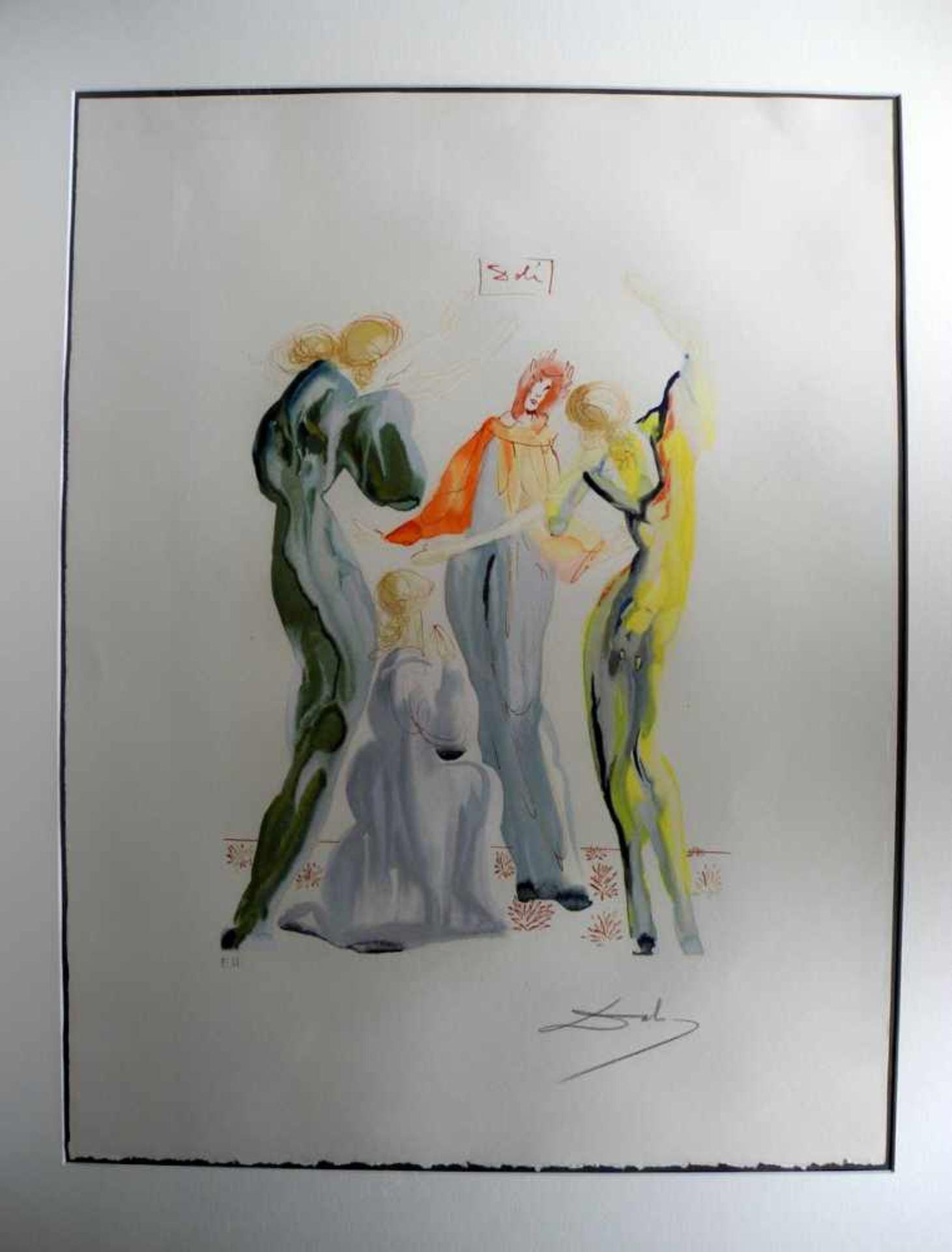 """Salvador Dalí, 1904 Figueres - 1989 ebenda Lithographie/Radierpapier. """"Le Dance"""" - Exemplar für"""