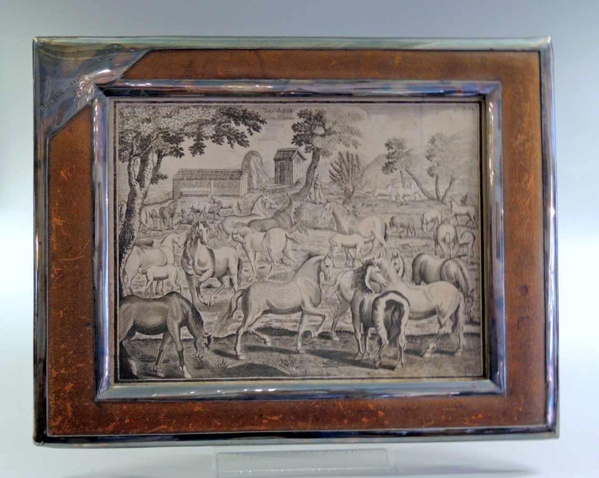 """""""Das Gestütt - Les Haras"""" Kupferstich/Papier. Darstellung einer Herde von Pferden verschiedener"""