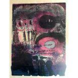 """Jens Jensen, geb. 1940 Frankfurt a.M. Mehrlagiger Druck/Papier. """"Hosco""""- abstrakte Komposition mit"""