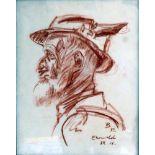 Fritz Behn, 1878 Klein Grabow - 1970 München Rötelzeichnung/Papier. Porträt eines Mannes im