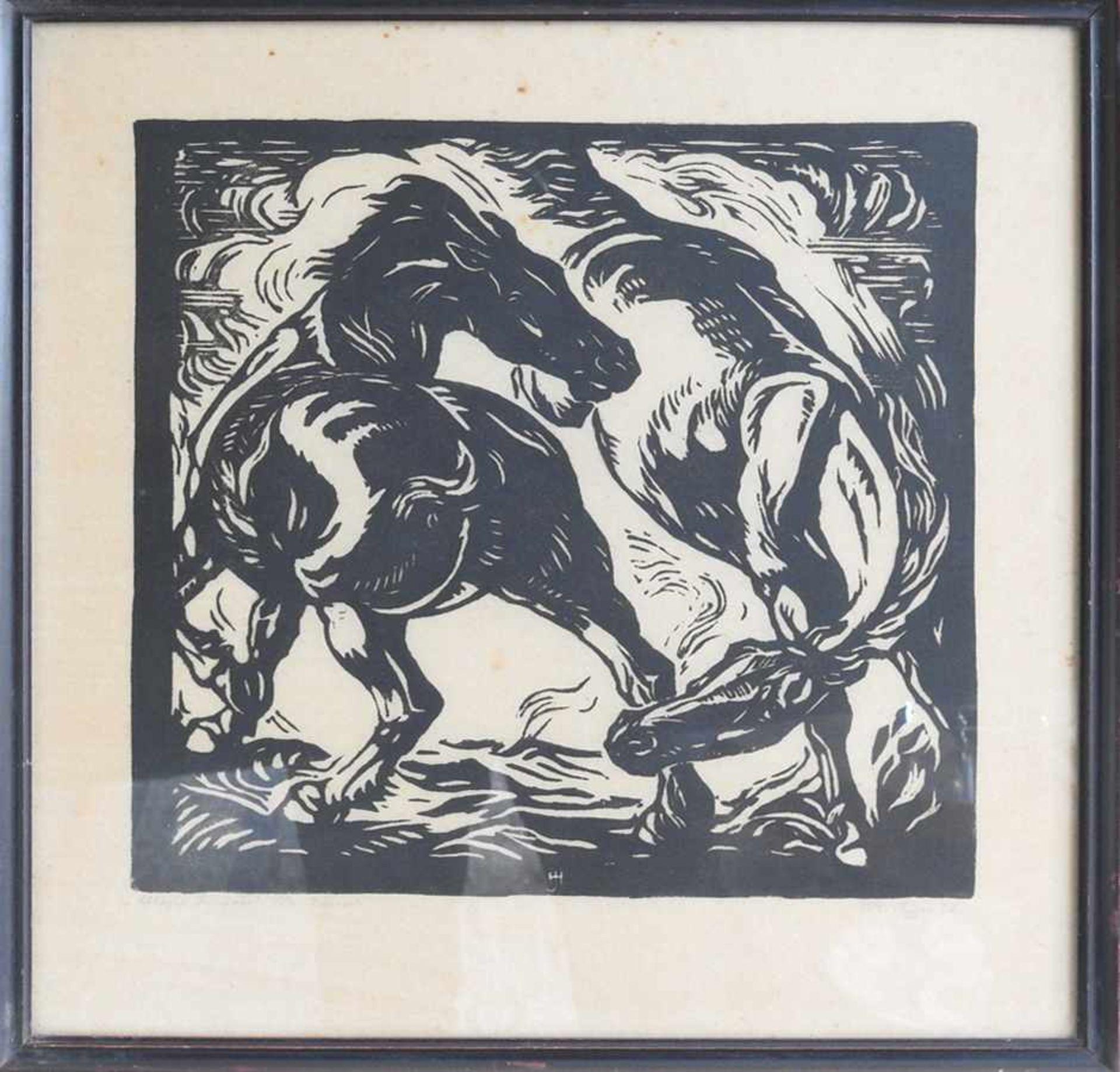 Hans Jäger, 1887 Zschopau - 1955 Dresden Holzschnitt/Papier. Pferdekampf. Rechts unten signiert, - Bild 2 aus 2
