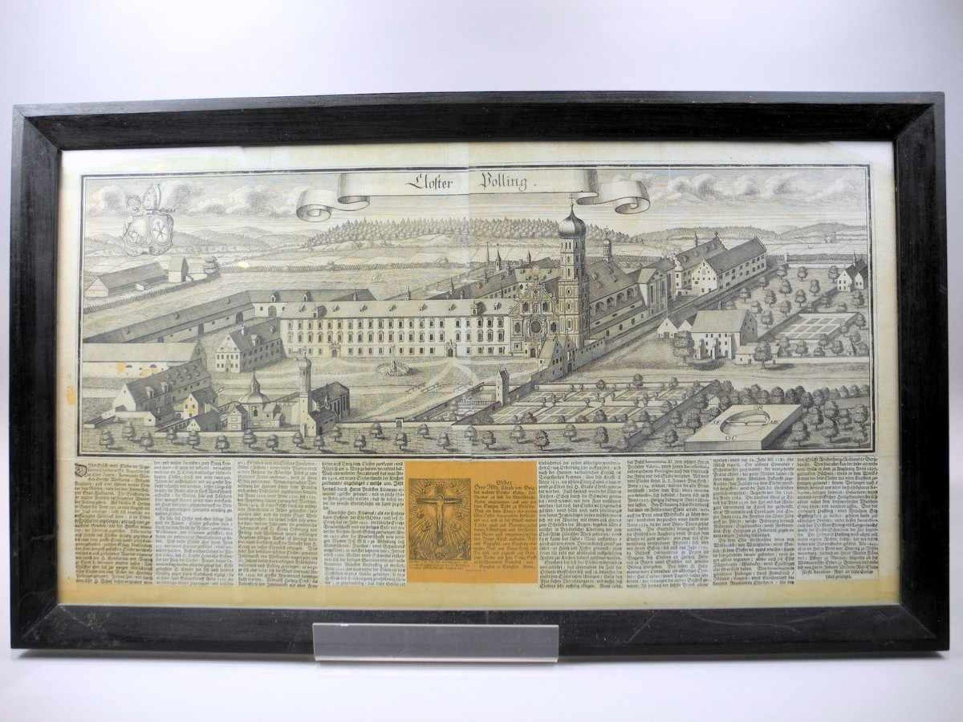 Stich des Klosters Polling Kupferstich/Papier, gerahmt. Ansicht des Klosters Polling. Verso mit