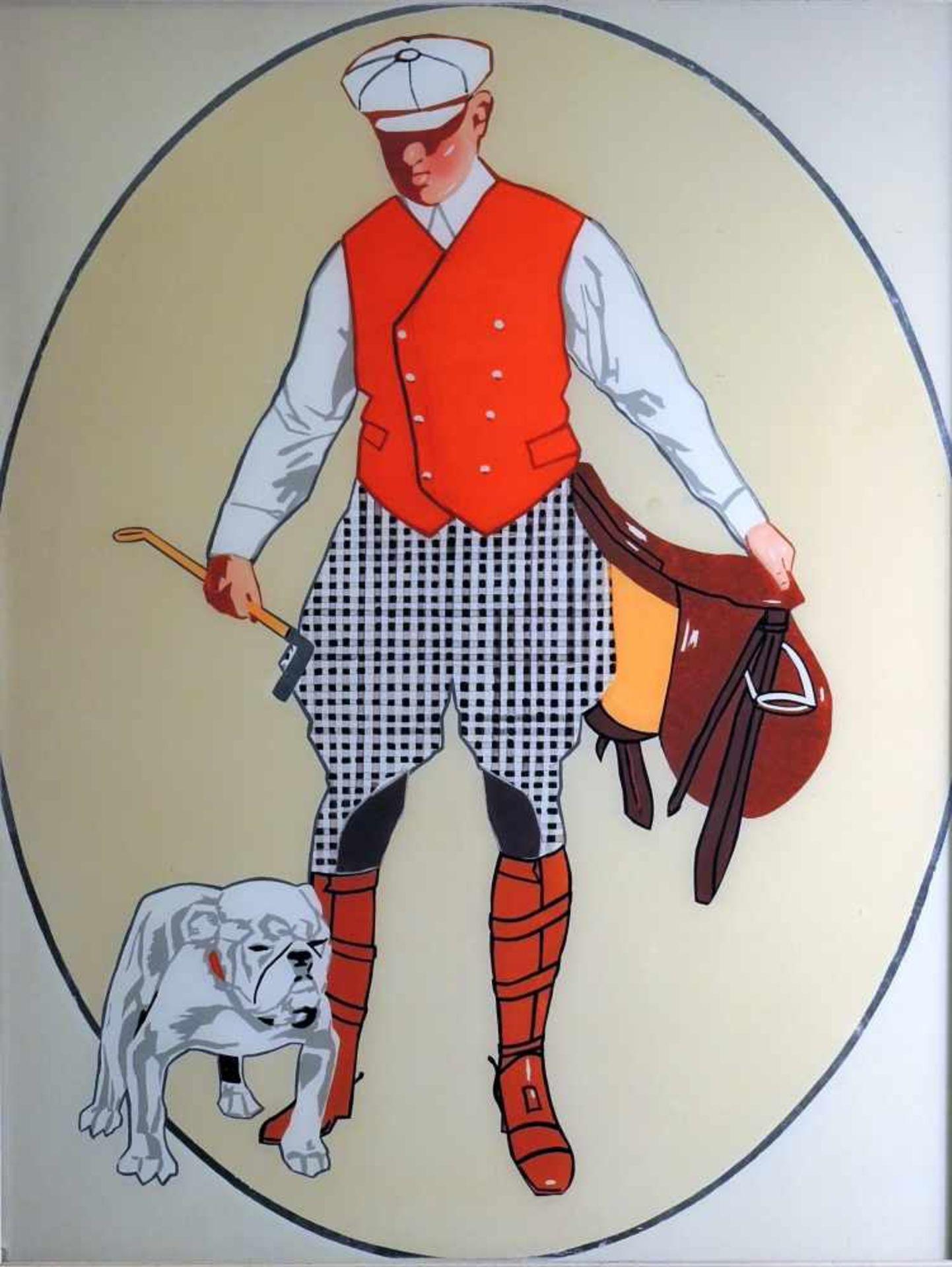 Jockey mit Hund nach Ludwig Hohlwein Acryl hinter Glas. Mit Schablonen erzeugtes (Werbe-) Motiv