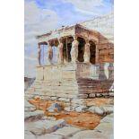 Architekturskizze Bleistift und Aquarell/Papier. Architekturstudie eines griechischen Tempels mit