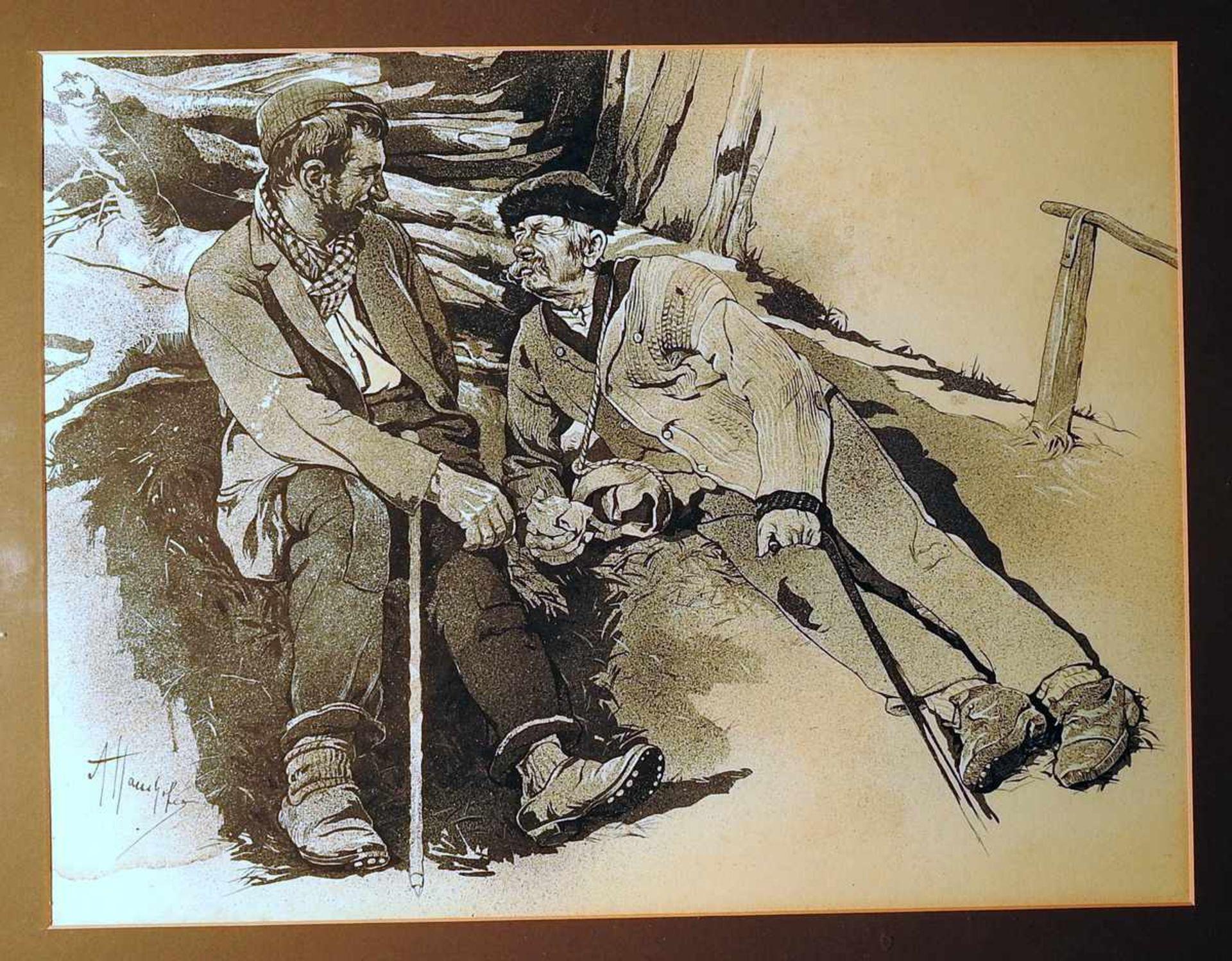 Alfred Haushofer, 1872 München - 1943 Seebruck Tuschfederzeichnung weiß gehöht/Papier. Zwei Männer