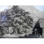 Conrad Grefe, 1823 Wien - 1907 Tulbing Radierung/Papier. Darstellung eines Bauernhofes in den