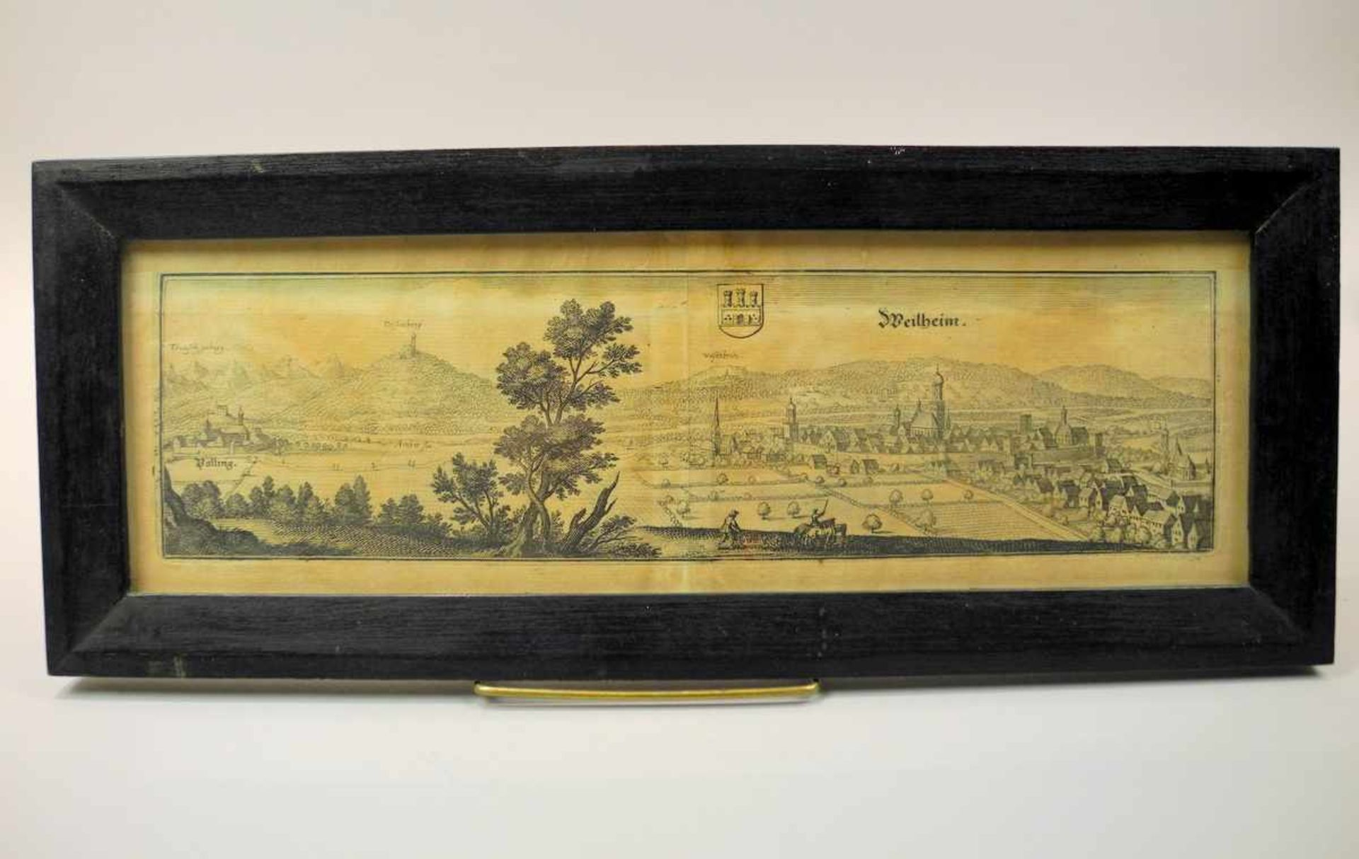 Ansicht von Weilheim Kupferstich/Papier, gerahmt. Gute Erhaltung. Deutschland, um 1800. H x B ca.