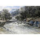 """Flussbett mit zwei PersonenAquarell/Papier. Dynamisch gemalte Naturdarstellung. Links unten """"W.F."""