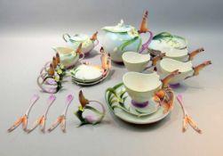 Franz Porzellan, Ausgefallenes Teeservice für 4 PersonenPorzellan, jeweils am Boden mit