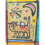 Nina Nolte, geb. 1957 El SalvadorMischtechnik/Stoff. Abstrakt gehaltene Darstellung einer Katze
