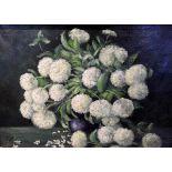 Walter Becker, 1893 Essen - 1984 TutzingÖl/Leinwand. Blumenstillleben mit weißen Hortensien in