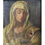 Ausdrucksvolles MadonnenporträtÖl/Leinwand. Unsigniert. Ein großes Loch, Krakelee und Farbabplatzer,