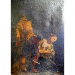 Joseph und MariaÖl/Leinwand. Altmeisterliche Darstellung Josephs und Maria, die ihre Hände in