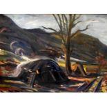 Theodor von Hötzendorff, 1898 Markdorf - 1974 HindlingÖl/Leinwand. Dynamische Landschaftsszene mit