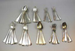 Sammlung von Silber-RestebesteckSilber plated/vorwiegend Silber 833, jeweils entsprechend mit