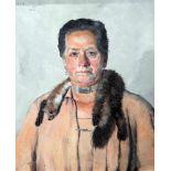 Thomas Baumgartner, 1892 München - 1962 KreuthÖl/Leinwand. Porträt einer feinen Dame mit Nerz-Schal.