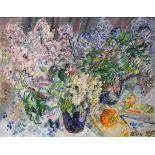 Expressives BlumenstilllebenÖl/Leinwand. Expressiv gemaltes Blumenstillleben mit auffallend pastosem