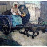 Mägde mit EselskarrenÖl/Leinwand. Im breiten Duktur gemaltes Gemälde mit Marktszene und Eselskarren.