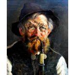 Otto Keck, 1873 Oberstaufen - 1948 Immenstadt b. AllgäuÖl/Holz. Allgäuer Bauer mit Pfeiffe.